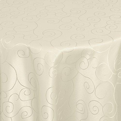 Kringel/Circle Tafeldecke Form, Größe & Farbe wählbar- Oval 160 x 220 cm - Champagner Damast Tischdecke