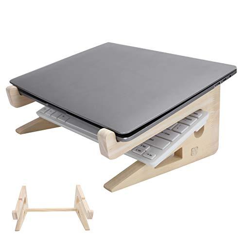 Supporto portatile per notebook Supporto per laptop in legno con supporto per laptop da 13-17 pollici, supporto per laptop in ABS con 104 tasti per scrivania, supporto in legno per laptop plug and pla
