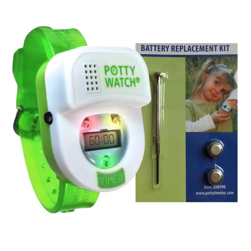 Potty Time: The Original Potty Watch | Water Resistant | Toddler Toilet Training Aid, Warranty Included (Automatic Timers with Music for Gentle Reminders) (Green + Battery Kit)