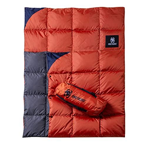 OneTigris Daunen Campingdecke Faltbare 3-Jahreszeiten 1-Personen Outdoor Decke Reisedecke Daunendecke Blanket, 195 x 135 cm, 5 bis 25 ℃ für Camping Jagd Wandern (Orange)