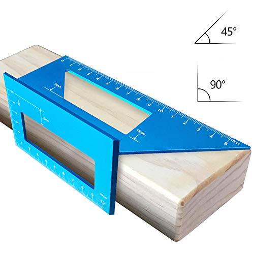 Medidor de ángulos multifunción, medidor de ángulos con ángulo de 45° y 90°, medidor de inglete 3D de aleación de aluminio para material redondo, piezas de trabajo tridimensionales. Tamaño libre azul
