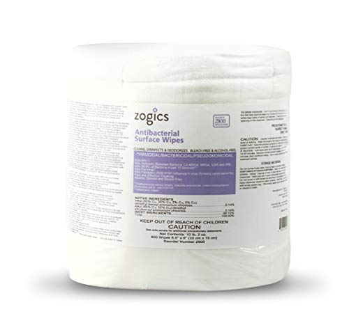 Zogics Antibacterial Wipes, EPA Registered Surface and Gym Equipment Disinfecting Wipes (800 Wipe Roll)