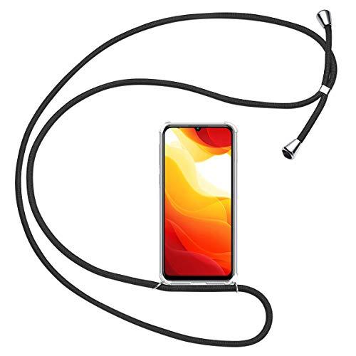 Olliwon Handykette Kompatibel mit Xiaomi Mi 10 Lite, TPU Transparent Hülle mit Band für Xiaomi Mi 10 Lite 6,57 Zoll Silikon Bumper Hülle - Schwarz