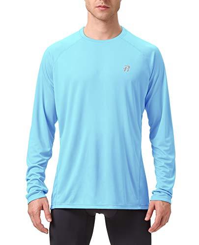 Runhit Long Sleeve Sun UV Protection Shirts for Men T-Shirt Workout Running Fishing Dri Fit Gym Shirt Mens Clothing