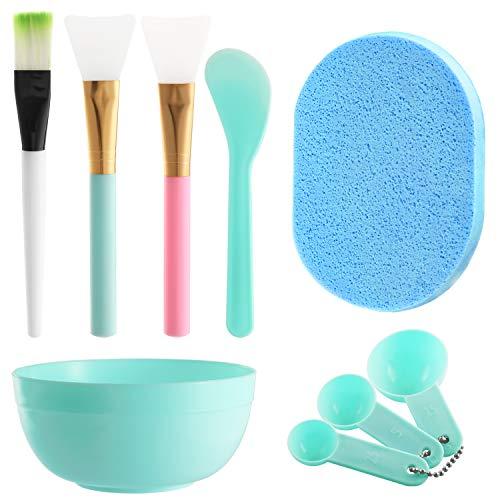 MWOOT DIY Gesichtsmaske Pinselset, 3Stk Gesichtsmaske Pinsel, Bürste, Gesichtspflege Schüssel, MessungsLöffel Kit, Schwamm, Gesichtspflege Tools Kit-Blau