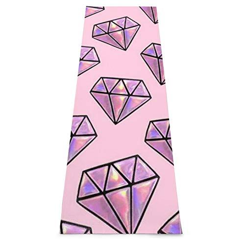 Esterilla de yoga con patrón de diamante rosa antideslizante para yoga, pilates, gimnasio en casa y entrenamiento