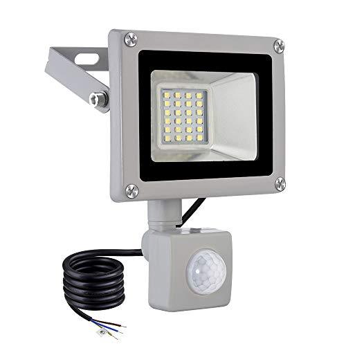 Viugreum Foco LED 20W, 2000LM Led Spotlight Para Exterior, flood light IP65 impermeable, foco proyector led for Jardín, garaje o deportes Espacio, luz blanca fría (con detector de movimiento)