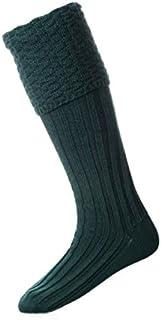 House of Cheviot Tartan Bottle Green Bubble Top Pipe Band Piper Knit Merino Wool Kilt Hose Socks
