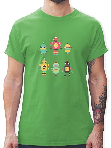 Nerds & Geeks - Bunte Roboter - S - Grün - Roboter Tshirt - L190 - Tshirt Herren und Männer T-Shirts
