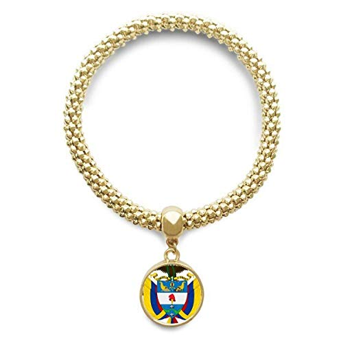 DIYthinker Cadena de joyería Colombia Nacional Emblema de Oro Pendiente Redondo de Pulsera