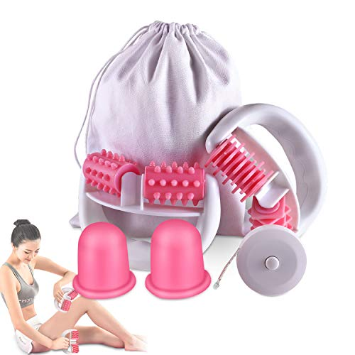 Anti Cellulite Roller Massageroller & Schröpfen Cup Set Anti Cellulite Massage gegen Cellulite und Hautproblemen Massagegeräte Tools Set mit Transport-Tasche und...
