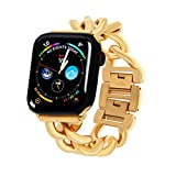 PLTGOOD Stainless Steel Band Compatible with Apple Watch Band 38mm/40mm for Women Men, 18K Gold Plated Metal Link Chain Wristband Adjustable Replacement Watch Strap for IWatch Series 6/5/4/3/2/1/SE