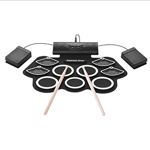 Rock1ON E-Drum Elektronisch drumstelset, 9 pads, draagbaar, opvouwbare trommel, met ingebouwde luidspreker en drum, voetpedaal, voor kinderen, beginners, cadeau