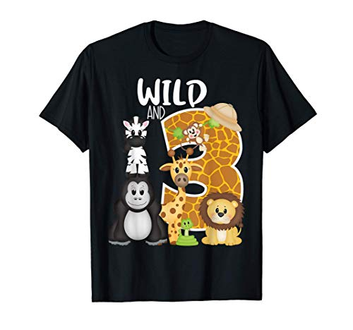 Wild and 3 Zoo Theme 3rd Birthday Party Safari Jungle Animal Camiseta