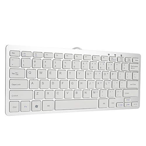 Bedraad USB-toetsenbord, 78 toetsen Ultradunne mini-schaar Voeten Ontwerp USB-bekabeld Stil toetsenbord met zilveren keycap voor pc voor Windows 7/8/10, ultradun bedraad computertoetsenbord
