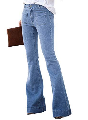 Dearlove Women's Stylish Destoryed Flare Jeans Elastic Waist Bell Bottom Frayed Hem Holes Denim Pants M Sky Blue