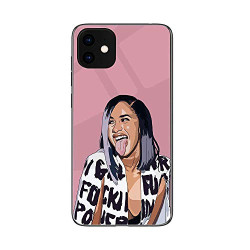 Case for iPhone 11,iPhone 11 Pro,iPhone 11 Pro Max Cardi B Tempered Glass Back Cover and Soft TPU Frame Compatible (G8,for iPhone 11Pro Max)