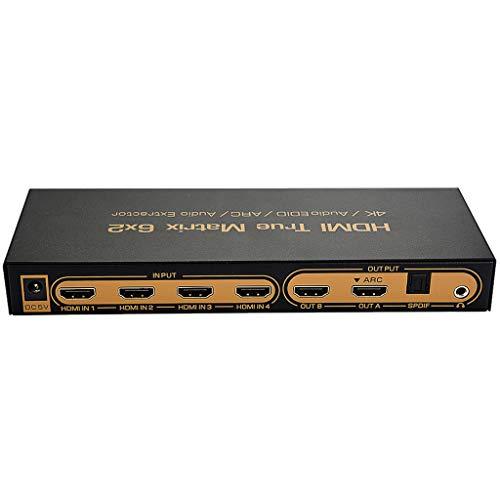 Netzteil HDMI Matrix 6 in 2 Out 4Kx2K unterstützt 3D 6x2 HD-Video-Switching-Glasfaser 5.1 Bild-in-Bild-ARC 6X2HDMI Matri-x Switch 6-in-2-Out-Umschalter/Splitter mit optischem Audioausgang