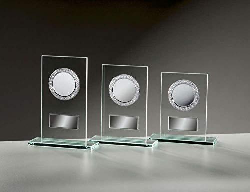 Henecka Glastrophäe 6mm-Glas mit Fassungen Sockelbreite 140 mm, Glas, mit Wunschgravur und auswählbarem Sport-Emblem, Größe 19 cm