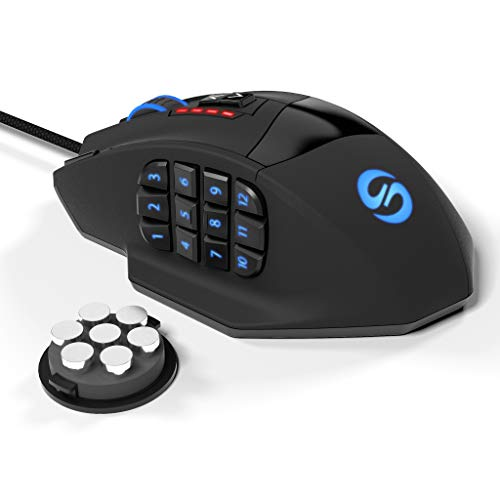 Souris de jeu Gamspeed V8 MMO laser programmable haute précision 16400 DPI pour PC, 18 boutons programmables,12 boutons latéraux, 5 profils de mémoire, souris de jeu avec lumière à respirer