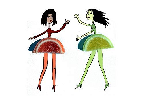 Coole lustige fröhliche Postkarte | Orange und Zitrone tanzen | Mädchen Ballet Frucht Obst