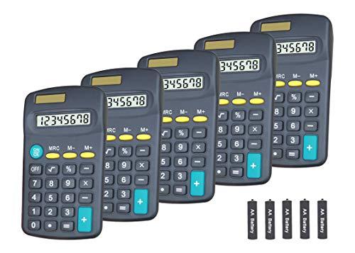 Basic Calculator Dual Power 8 Digit Desktop Calculator (Black,Set of 5)