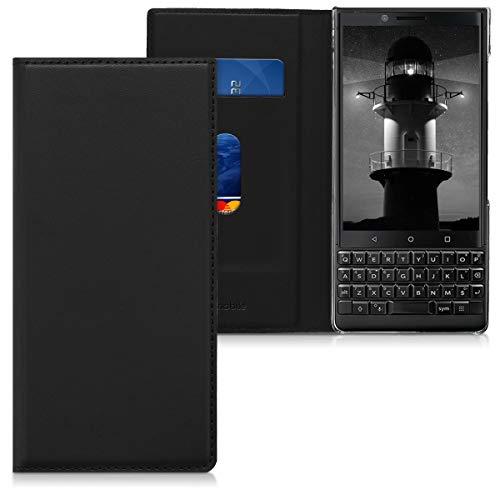 kwmobile Hülle kompatibel mit BlackBerry KEYtwo (Key2) - Kunstleder Handy Schutzhülle - Flip Cover Hülle Schwarz