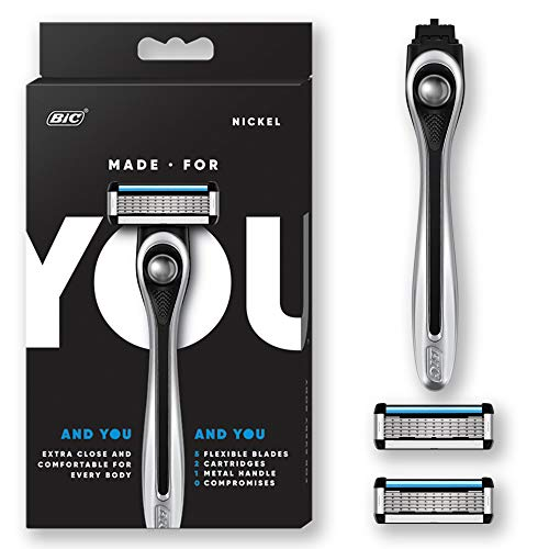 Made For YOU by BIC Shaving Razor Blades for Every Body - Men & Women, with 2 Cartridge Refills - 5-Blade Razors for a Smooth Close Shave & Hair Removal, NICKEL, Kit