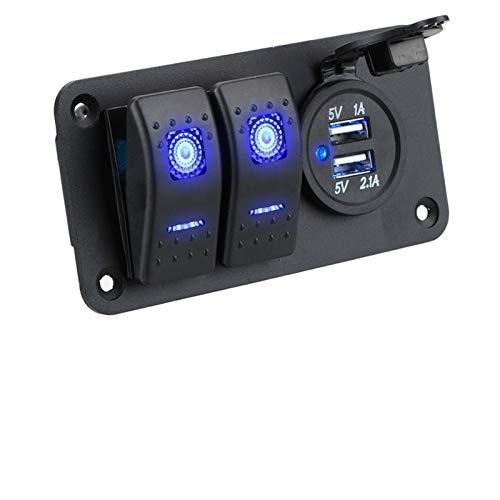 LiHaQin 2/3/6 Gang 4.2A Dual USB Slot Socket Cigarette LI Impermeable Marine Boat Boat Rocker Switch Panel con Fusible Pantalla de Voltaje Digital LiHaQin (Color : 2 Gang)
