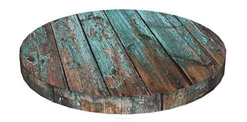 KADAX Stuhlkissen, rundes Sitzkissen, Ø 40 cm, Sitzauflage aus Schaumstoff, Stuhlauflage für Stuhl, Küche, Garten, Sitzpolster mit waschbarem Bezug, Gartenstuhlkissen (Braun/blau)