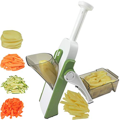 Once for All's Safest Mandoline Slicer with 4 Cutting Modes & 40 Thickness Levels to Slice, Dice, Chop, Julienne, Chip Vegetables, Injury-Free Design, with Catch Container, Brush & 5 Recipe Ebooks