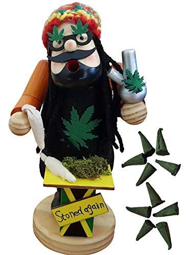 SEEAS Räucherfigur Kiffer inkl. Cannabis-Räucherkerzen - XL 20cm Holz - Detailgetreu mit Rastas Joint Gras Bong Wollmütze - Jamaika