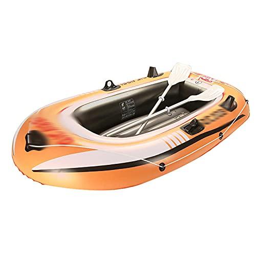 Fnho Lancha motora Kayak,Bote Inflable de Pesca Engrosado,Barco de Deriva Inflable, Barco de Pesca Exterior de PVC (175 x 105 x 40cm) -Naranja