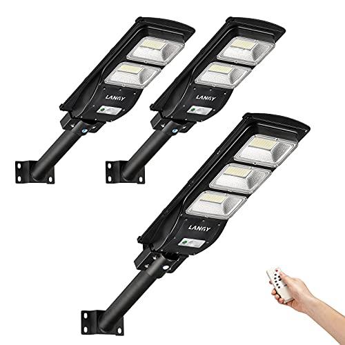 Solar Street Light Combo,2 Pack 60 watts Solar Street Light +1 Pack 90 watts Solar Powered Street Light