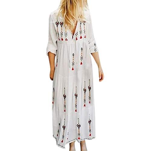 LOPILY Stickereie Hippie Strandkleid Damen Blumen Druckkleid mit Quaste Kordelzug Boho Elegant Sexy Kleid Lockere Maxikleider Große Größen Festliches Kleid Langarm Kleid Damen (Weiß, 46)