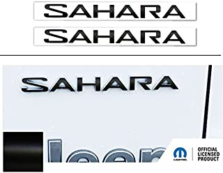SAHARA Fender Emblem Overlay Decal Stickers- 2018 Wrangler JL - (Color: Flat Black)