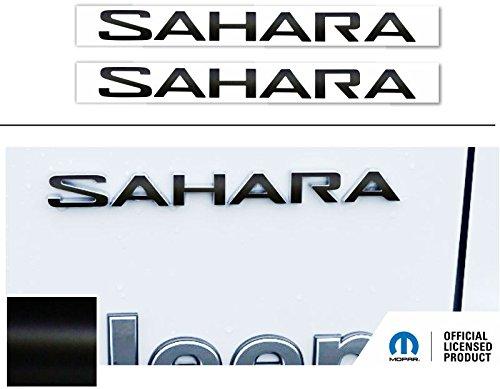SAHARA Fender Emblem Overlay Decal Stickers- 2018 Wrangler JL - (Color: Flat Black)