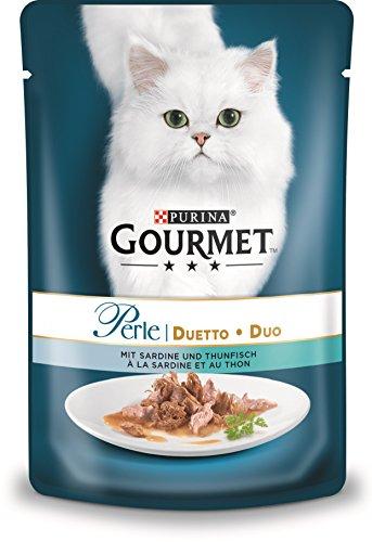 PURINA GOURMET Perle Duetto Katzenfutter nass, mit Sardinen und Thunfisch, 24er Pack (24 x 85g)