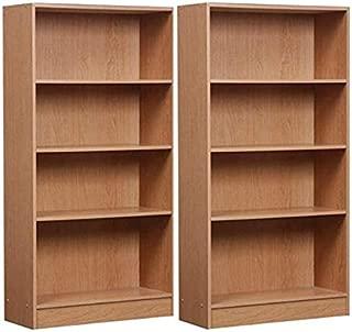 Orion Mylex 4-Shelf Bookcase Oak, Set of 2 + Free Tablecloth