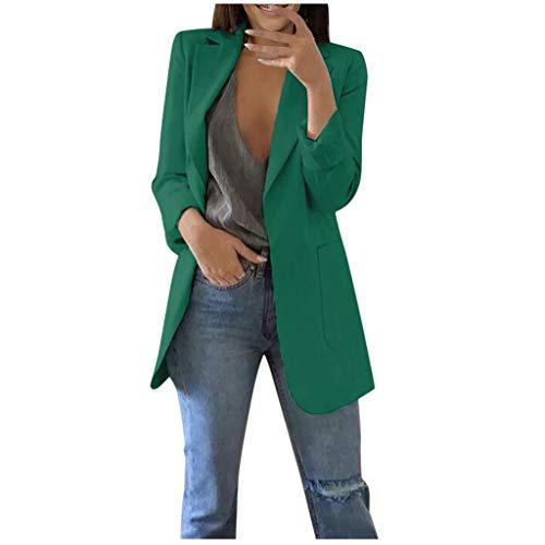 VEKDONE - Chalecos casuales para mujer, talla grande, manga larga, parte delantera abierta, traje de negocios, chaqueta elástica para trabajo o oficina, Verde ejército, 5XL