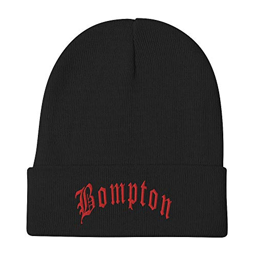 Nells Bompton Compton CA Gang Embroidered Beanie Black