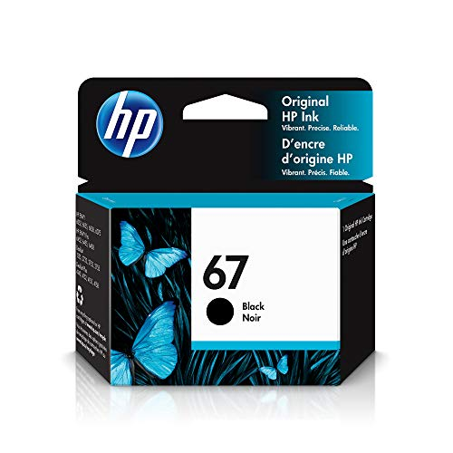 HP 67   Ink Cartridge   Black   Works with HP ENVY 6000 Series, HP ENVY Pro 6400 Series, HP DeskJet 1255, 2700 Series, DeskJet Plus 4100 Series   3YM56AN