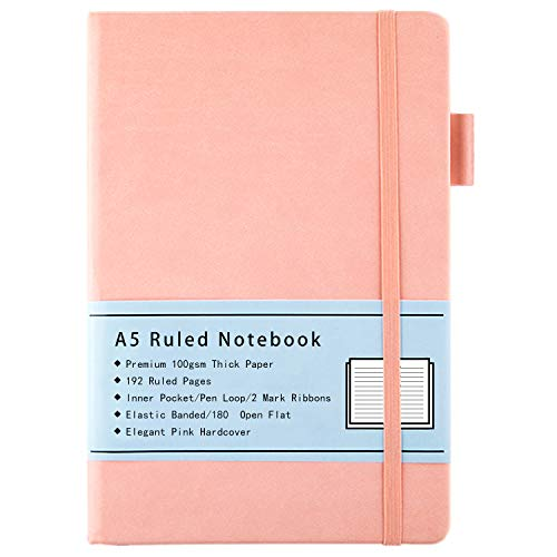 Notizbuch Liniert A5, mit Hardcover Ausgekleidetes Journal mit Dickem Premium 100GSM Papier, Innentasche, Stiftschlaufe, Gummiband, Kunstlederbezug, 192 Seiten, 14,5 x 21,3 cm (Rosa)