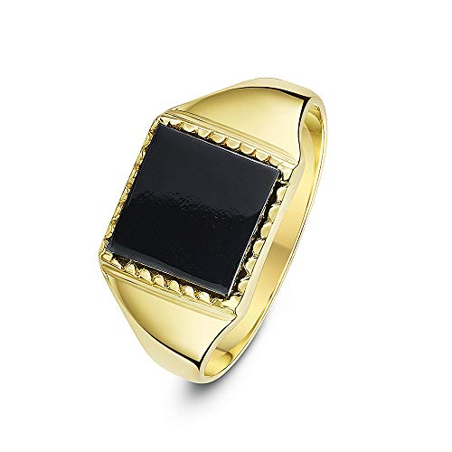 Theia Men's 9 ct Yellow Gold, Square Shape Signet Ring, Set with 10 x 10 mm Black Onyx Stone - Size S