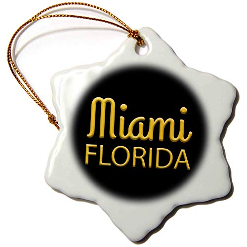 Alexis Design American Cities Yellow on Black Miami Florida State American Patriot Home Town Charm Christmas Ornaments for Kids Christmas Tree Decoration Ceramic 3 Inches