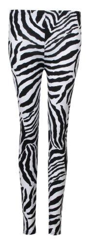 Fast Fashion Damen Tier Zebra Drucken Armelloses Top Und Leggings Anzug (ML = 40/42, Zebra Leggings)