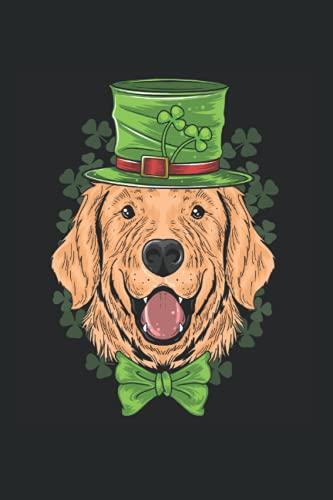 Golden Retriever mit einem Leprechaun-Hut und Kleeblatt: DIN A5 Kariert 120 Seiten / 60 Blätter Notizbuch Notizheft Notiz-Block St. Patrick's Day Saint Patricks Day