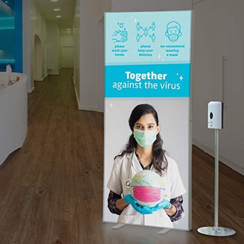 Dispensador de desinfección sin contacto con sensor automático, soporte desinfectante y caja de luz de INFO - Desinfectante de manos para oficina, tienda médica, hogar, hoteles y mercado