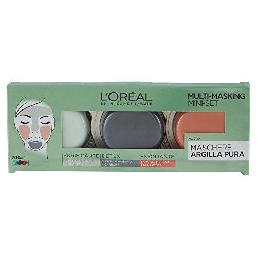 L'Oréal Paris Argilla Pura Confezione 3 Mini-Maschere, Trattamento Multimasking, 30 ml