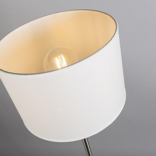 QAZQA Moderno Lámpara de pie moderna redonda blanca - VT 1 Textil/Acero Redonda/Alargada Adecuado para LED Max. 1 x 60 Watt